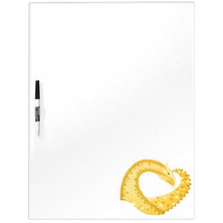 Yellow heart dragon on white dry erase board