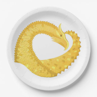 Yellow heart dragon on white paper plate