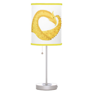 Yellow heart dragon on white table lamp