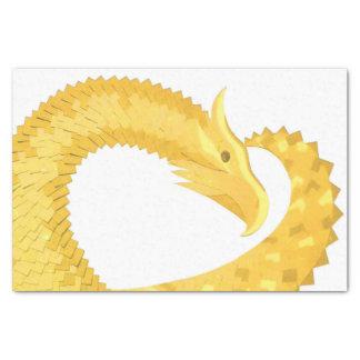 Yellow heart dragon on white tissue paper