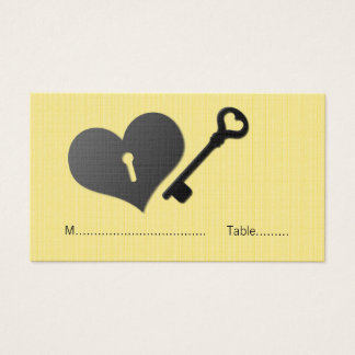 Yellow Heart Lock and Key Place Card