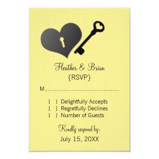 "Yellow Heart Lock and Key Response Card 3.5"" X 5"" Invitation Card"
