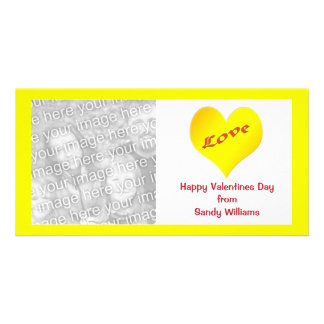 yellow heart personalized photo card