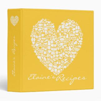 Yellow Heart Recipe Kitchen Custom Name Binder