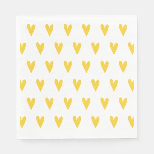 Yellow Hearts Pattern Disposable Napkin