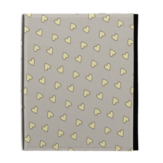 Yellow Hearts Pattern iPad Case