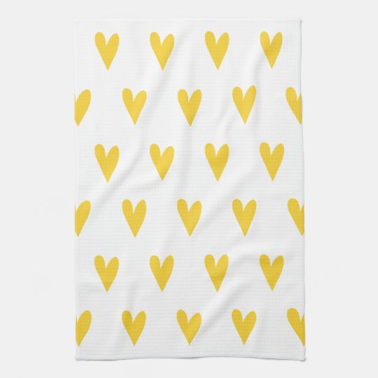 Yellow Hearts Pattern Kitchen Towel