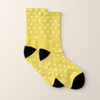 Yellow Hearts Pattern Monogram Socks