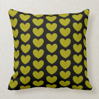 Yellow Hearts Pattern on Black Throw Pillow