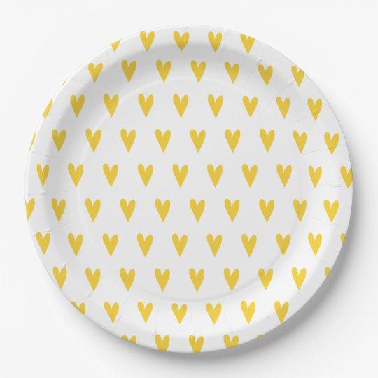 Yellow Hearts Pattern Paper Plate