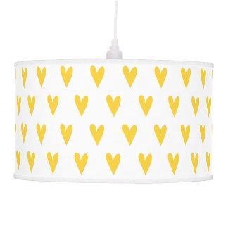 Yellow Hearts Pattern Pendant Lamp