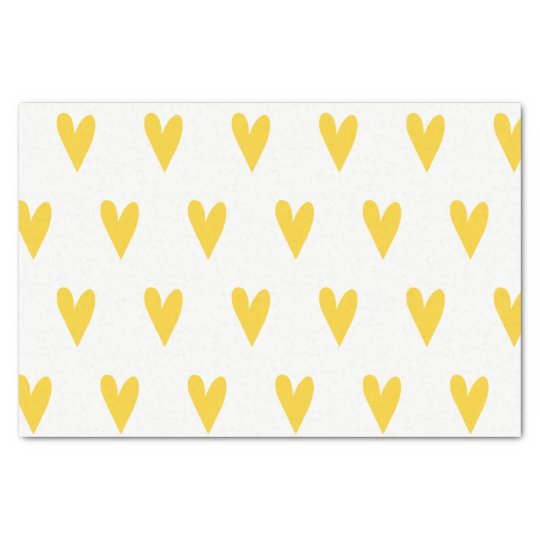 Yellow Hearts Pattern Tissue Paper