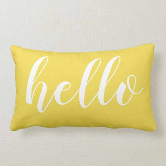 Yellow Hello Cute Hello or Your Quote Lumbar Pillow