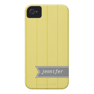 Yellow Herringbone Pattern {pick your color} iPhone 4 Cases
