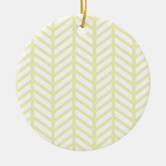 yellow Herringbone Round Ceramic Ornament