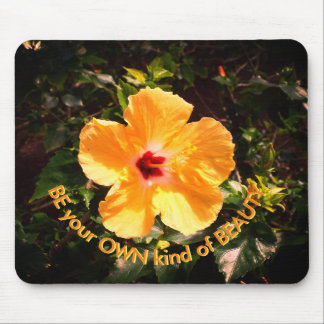 Yellow Hibiscus and Motivation Quote Mouse Pad