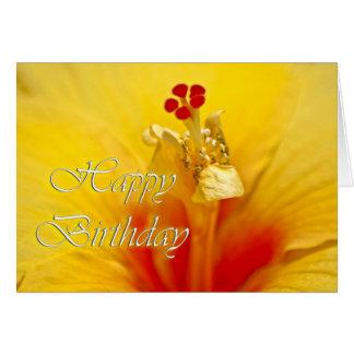 Yellow Hibiscus Birthday Greeting Card