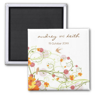 Yellow Hibiscus Floral Swallows Save Date Magnet