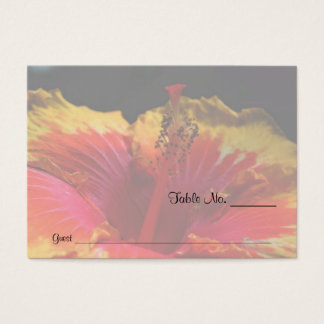 Yellow Hibiscus Floral Wedding Table Place Cards