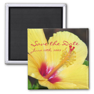 Yellow Hibiscus Save The Date Magnet