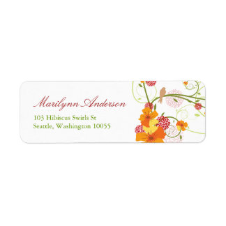 Yellow Hibiscus Spring Wedding Address Labels