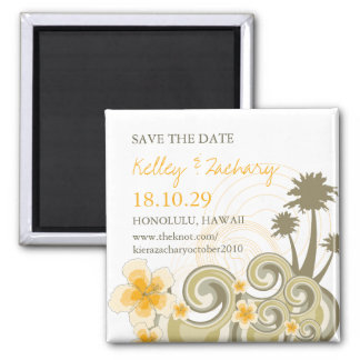 Yellow Hibiscus Tropical Waves Beach Save The Date Magnet