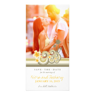 Yellow Hibiscus Tropical Waves Beach Save The Date Photo Greeting Card