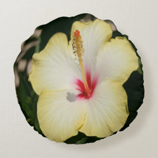 Yellow Hibiscus With Garden Background Round Pillow