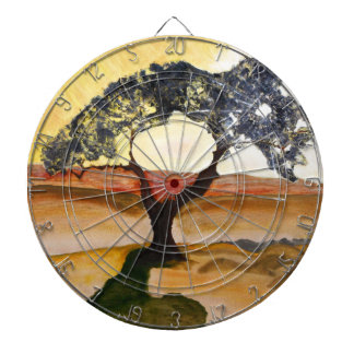 Yellow Hill Top Tree Landscape Painting Dartboard