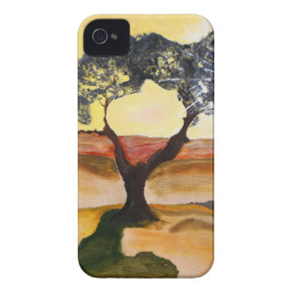 Yellow Hill Top Tree Landscape Painting iPhone 4 Case-Mate Case