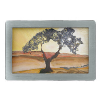 Yellow Hill Top Tree Landscape Painting Rectangular Belt Buckles