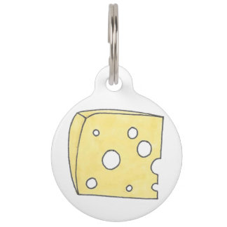 Yellow Holey Swiss Cheese Wedge Foodie Pet Tag