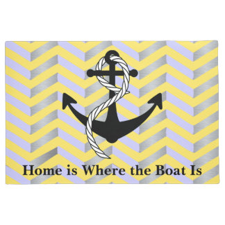 Yellow Home is Where the Boat is Nautical Mat