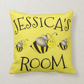 Yellow Honey Bumble Bee Bumblebee Personalized Throw Pillow