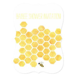 Yellow honeybee Baby shower invitation