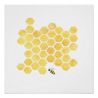 Yellow honeybee painting art wall decor poster perfect poster