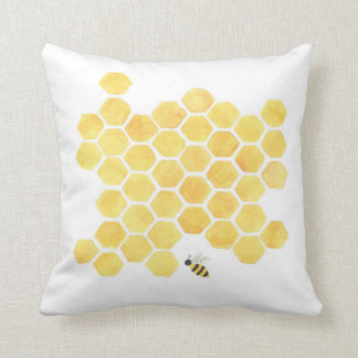 Yellow honeycomb beehive pillow