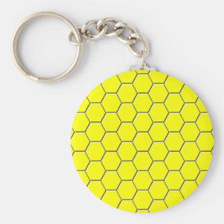 Yellow honeycomb pattern basic round button keychain