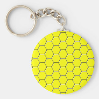 Yellow honeycomb pattern keychain