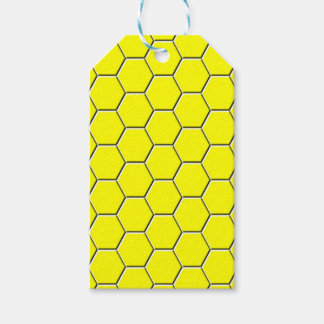 Yellow honeycomb pattern pack of gift tags