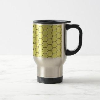 Yellow honeycomb pattern travel mug