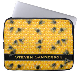 Yellow Honeycomb with Bumble Honey Bees Beehive Laptop Sleeve