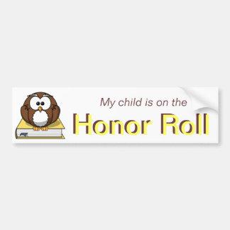 Yellow Honor Roll Bumper Sticker