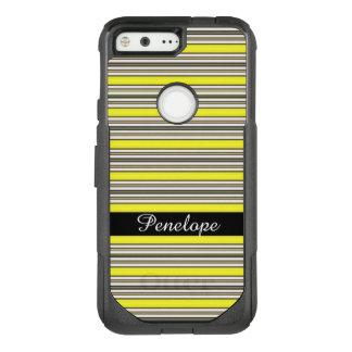 Yellow Horizontal Striped Pattern Add your name OtterBox Commuter Google Pixel Case