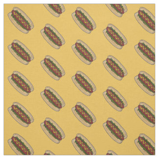 Yellow Hot Dog Dogs Pickle Relish Mustard Fabric