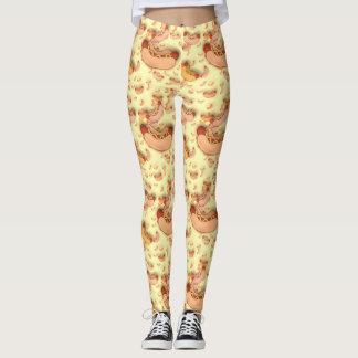 Yellow Hot Dog Pattern Leggings