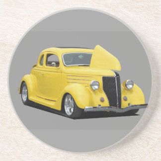 yellow hot rod car beverage coaster