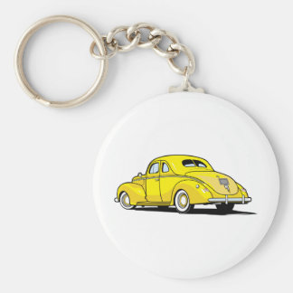 Yellow Hot Rod Coupe Keychain