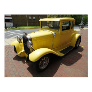 Yellow Hot Rod Postcard