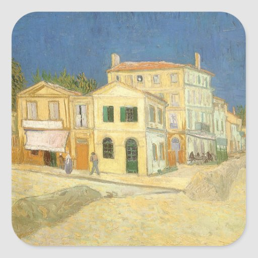 Yellow House, van Gogh, Vintage Impressionism Art Square Stickers